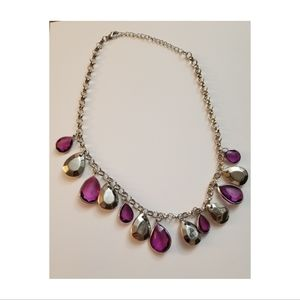 Purple and Silver Short Beaded Necklace & Earring